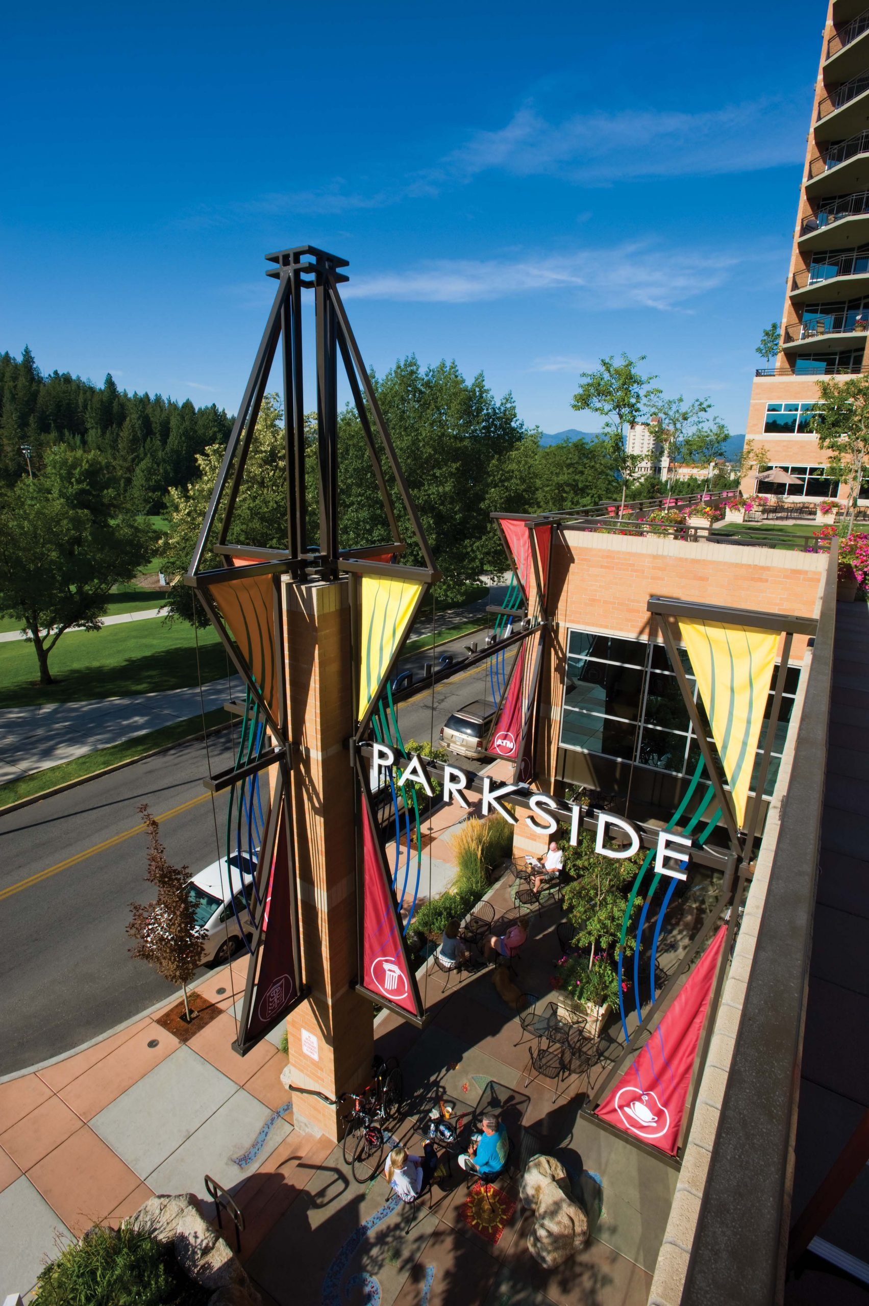 Parkside is a beautiful mixed-use high-rise in downtown Coeur d'Alene that features 53 luxury condominiums, office space, retail space, underground parking, open air raised plaza, an 18 hole putting green, fitness center, and numerous roof top terraces.