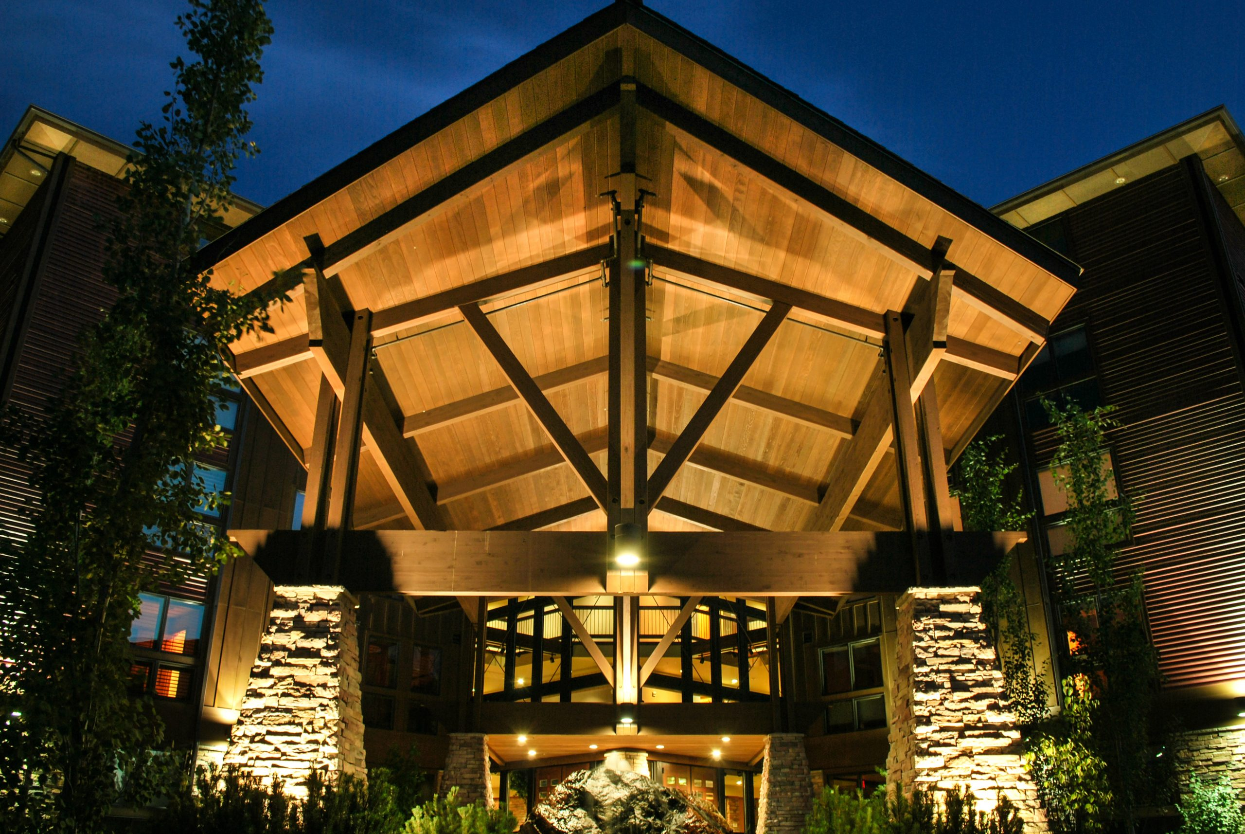 Ridgepointe is a luxury condo project located in the Sanders Beach neighborhood in Coeur d'Alene that features exposed beams, stonework, and a five-story entry atrium.