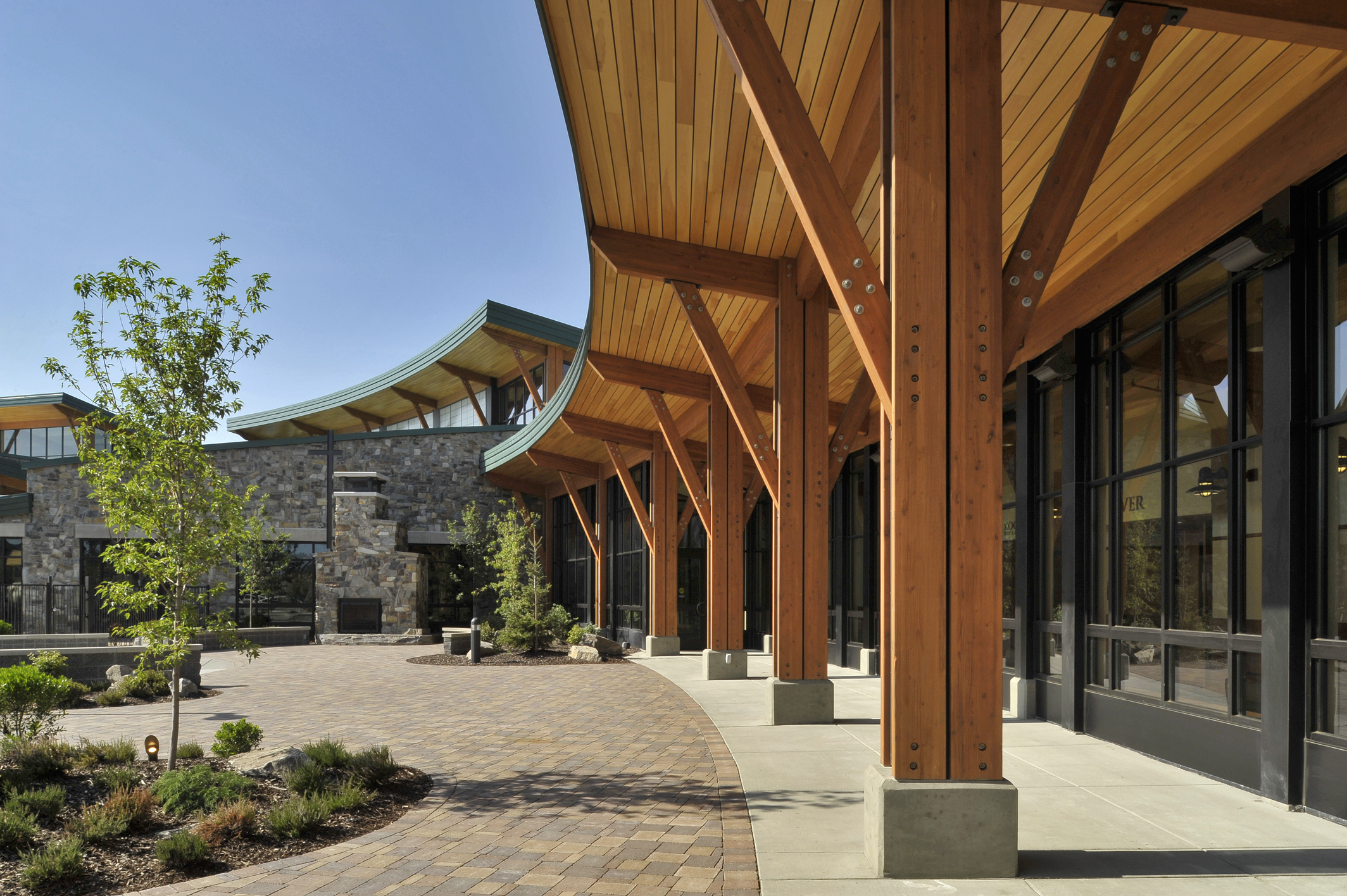 The Kroc Center is a community center located in Coeur d'Alene Idaho. The design includes state of the art aquatic pools, a gymnasium, community rooms, an aerobics studio, and a world class theater.